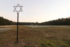 Jewish Star of David and mass graves at the Waldlager forest in Kulmhof, today Chelmno nad Nerem, Poland, Nazi extermination camp. Stock Photo
