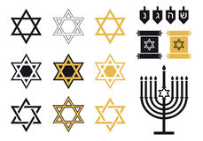 Jewish stars, religious icon set,  Royalty Free Stock Photo