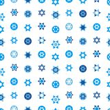 Jewish stars set seamless pattern. Star of David national Israel symbols. Judaism sign for textile, wallpaper, web page background. Vector illustration Stock Photos