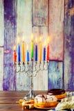 jewish symbol Hanukkah with menorah traditional Stock Images