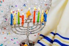 Jewish symbol jewish holiday Hanukkah with menorah traditional Candelabra. Jewish holiday, Holiday symbol Royalty Free Stock Photos
