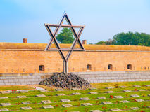 Jewish symbol - Star of David at memorial cemetery at Little Fortress of Terezin, aka Theresienstadt, Czech Republic Royalty Free Stock Image
