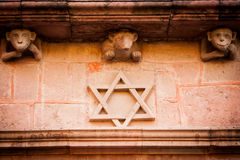 Jewish symbol on a wall in the street Stock Photography