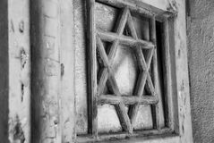 Jewish symbolic star Magen David. Close-up element of wooden doors to the Old Synagogue in Tel Aviv, Israel Stock Image