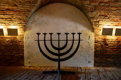Jewish menorah at the Ceremonial Hall and Central Morgue of the former Jewish Ghetto at Terezin Czech Republic stock image