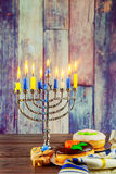Jewish symbols Hanukkah, the Jewish Festival of Lights Stock Photos