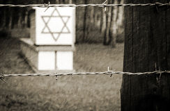Jewish symbols in Stutthof concentration camp. Dramatic scenery of concentration camp Stutthof in Poland Stock Photo