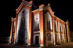Jewish synagogue at town Ruzomberok, Slovakia. Jewish synagogue at night - Ruzomberok, Slovakia royalty free stock photography