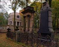 Jewish tombs and gravestones. Family magnificent tombs of the historic Jewish cemetery in Lodz Stock Photography