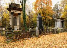 Jewish gravestones. Family magnificent tombs of the historic Jewish cemetery in Lodz Stock Photos