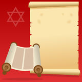 Jewish Torah Scroll and Old Parchment. Happy Hanukkah or Bar and Bat Mitzvah invitation card with a cartoon Torah scroll and an old parchment scroll. Eps file Stock Images