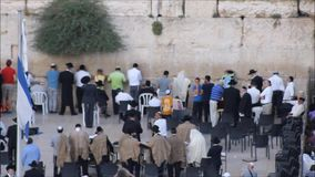 Jewish and Tourists Prayers in the Wailing Wall stock video footage