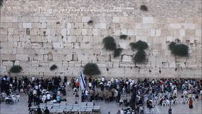 Jewish and Tourists Prayers in the Wailing Wall stock video