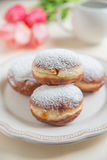 Jewish traditional holiday Hannukah doughnuts. Home made Jewish traditional holiday Hannukah doughnuts Stock Image
