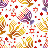 Jewish traditional holiday Hannukah. Seamless pattern. Jewish traditional holiday Hannukah. Seamless pattern with menorah and star of David. Watercolor stock illustration