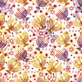 Jewish traditional holiday Hannukah. Seamless pattern. Jewish traditional holiday Hannukah. Seamless pattern with menorah and star of David. Watercolor royalty free illustration