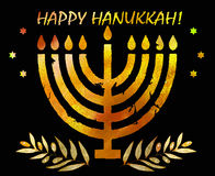 Jewish traditional holiday Hannukah.Watercolor Greeting card. Jewish traditional holiday Hannukah. Greeting card with menorah and text Happy Hanukkah. Watercolor Stock Image