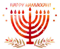 Jewish traditional holiday Hannukah.Watercolor Greeting card Stock Photo