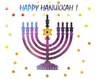 Jewish traditional holiday Hannukah.Watercolor Greeting card Royalty Free Stock Photos