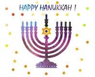 Jewish traditional holiday Hannukah.Watercolor Greeting card. Jewish traditional holiday Hannukah. Greeting card with menorah and text Happy Hanukkah. Watercolor Royalty Free Stock Photos