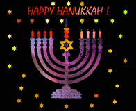 Jewish traditional holiday Hannukah.Watercolor Greeting card. Jewish traditional holiday Hannukah. Greeting card with menorah and text Happy Hanukkah. Watercolor Stock Photos