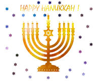 Jewish traditional holiday Hannukah.Watercolor Greeting card. Jewish traditional holiday Hannukah. Greeting card with menorah and text Happy Hanukkah. Watercolor Stock Images