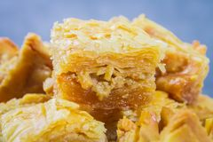 Jewish, turkish, arabic traditional national dessert. Macro. Selective focus. Baklava with honey and nuts. Jewish, turkish, arabic traditional national dessert Stock Photo