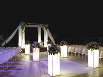 Jewish wedding canopy by night. Marriage in the hills of Jerusalem Stock Photo