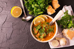 Jewish wedding and holyday Yemenite beef soup Marak Temani. Traditional jewish wedding and holyday Yemenite vegetable beef soup Marak Temani. Yom Kippur. Israeli Stock Photography