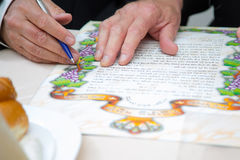 Jewish wedding. Huppa. Ketubah. Jewish religious wedding. Ketubah, the marriage contract, but it's only obligations with respect to the groom to the bride Royalty Free Stock Photos