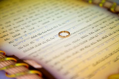 Jewish wedding. Huppa. Ketubah. Jewish religious wedding. Ketubah, the marriage contract, but it's only obligations with respect to the groom to the bride Stock Photo