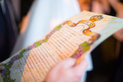 Jewish wedding. Huppa. Ketubah. Jewish religious wedding. Ketubah, the marriage contract, but it's only obligations with respect to the groom to the bride Stock Image