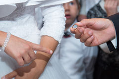 Jewish wedding. Huppa. Jewish religious wedding. The groom dresses a ring on the finger of the bride, after she becomes his wife Royalty Free Stock Photos