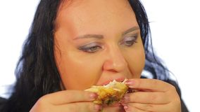 Jewish woman eats chicken in a cafe with a crisp stock footage