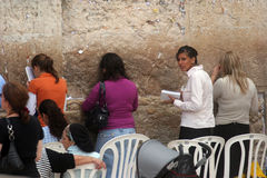 Jewish women pray at the western wall in Jerusalem Royalty Free Stock Photography