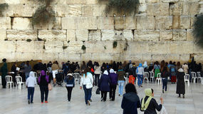 Jewish women  worshipers pray at the Wailing Wall Stock Photography
