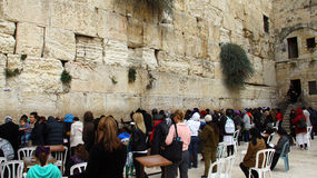 Jewish women worshipers pray at the Wailing Wall Stock Photo