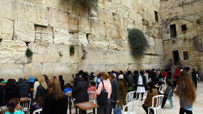 Jewish women worshipers pray at the Wailing Wall Royalty Free Stock Images