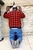 Jewish worshiper prays at the Wailing Wall Stock Image