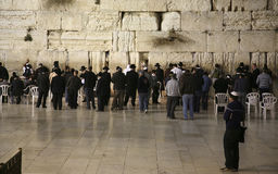Jewish worshipers pray at the Wailing Wall the greatest Shrine of Judaism Stock Photos