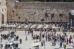 Jewish worshipers pray at the Wailing Wall the greatest Shrine of Judaism Royalty Free Stock Photography