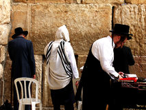 Jewish worshipers  pray at the Wailing Wall Royalty Free Stock Image