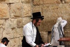 Jewish worshipers  pray at the Wailing Wall Stock Image