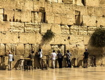 Jewish worshipers pray at the Wailing Wall an important jewish religious site Royalty Free Stock Photography