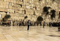 Jewish worshipers pray at the Wailing Wall an important jewish religious site Royalty Free Stock Photo