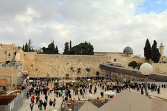 Jewish worshipers pray at the Wailing Wall Royalty Free Stock Images