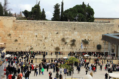 Jewish worshipers pray at the Wailing Wall Stock Photo