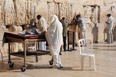 Jewish Worshipers at the Wailing Wall Stock Photo