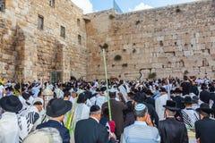 Jewish worshipers in white shawls Royalty Free Stock Image