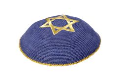 Jewish Yarmulke. On a white background Stock Photos